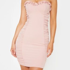 NWT rose ruched bodycon dress